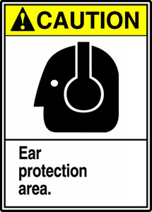 "ANSI Safety Sign - CAUTION: Ear Protection Area., 14"" x 10"", Pack/10"
