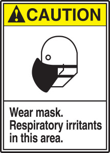 "ANSI Safety Sign - CAUTION: Wear Mask - Respiratory Irritants In This Area, 14"" x 10"", Pack/10"