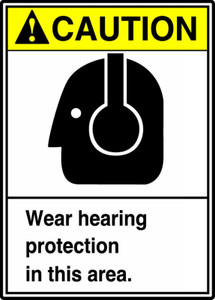"ANSI Safety Sign - CAUTION: Wear Hearing Protection In This Area., 14"" x 10"", Pack/10"