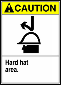 "ANSI Safety Sign - CAUTION: Hard Hat Area, 14"" x 10"", Pack/10"