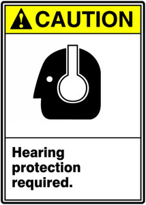"ANSI Safety Sign - CAUTION: Hearing Protection Required., 14"" x 10"", Pack/10"