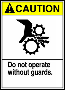 "ANSI Safety Sign - CAUTION: Do Not Operate Without Guards, 14"" x 10"", Pack/10"