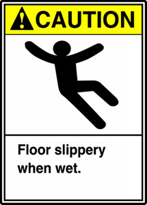 "ANSI Safety Sign - CAUTION: Floor Slippery When Wet, 14"" x 10"", Pack/10"