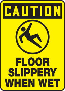 "OSHA Safety Sign - CAUTION: Floor Slippery When Wet, 14"" x 10"", Pack/10"