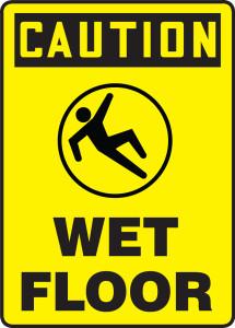 "OSHA Safety Sign - CAUTION: Wet Floor, 14"" x 10"", Pack/10"