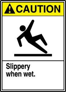 "ANSI Safety Sign - CAUTION: Slippery When Wet - Watch Your Step, 14"" x 10"", Pack/10"