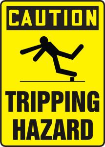 """OSHA Safety Sign - CAUTION: Tripping Hazard, 14"""" x 10"""", Pack/10"""