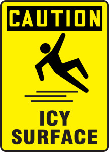 "OSHA Safety Sign - CAUTION: Icy Surface, 14"" x 10"", Pack/10"