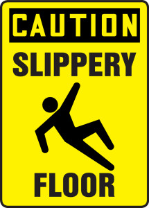 "OSHA Safety Sign - CAUTION: Slippery Floor, 14"" x 10"", Pack/10"