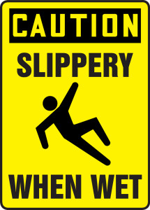 "OSHA Safety Sign - CAUTION: Slippery When Wet, 14"" x 10"", Pack/10"