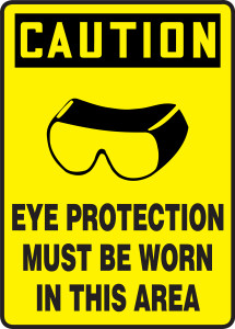 """OSHA Safety Sign - CAUTION: Eye Protection Must Be Worn In This Area, 14"""" x 10"""", Pack/10"""
