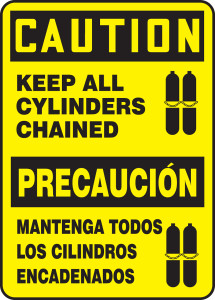 "Bilingual OSHA Safety Sign - CAUTION: Keep All Cylinders Chained, 14"" x 10"", Pack/10"