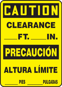 "Bilingual OSHA Safety Sign - CAUTION: Clearance Ft. In., 14"" x 10"", Pack/10"