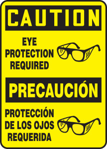"""Bilingual Spanish OSHA Safety Sign - CAUTION: Eye Protection Required, 14"""" x 10"""", Pack/10"""