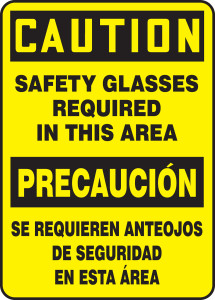 """Bilingual OSHA Safety Sign - CAUTION: Safety Glasses Required In This Area, 14"""" x 10"""", Pack/10"""