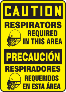"""Bilingual OSHA Safety Sign - CAUTION: Respirators Required In This Area, 14"""" x 10"""", Pack/10"""