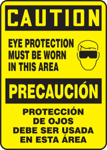 """Spanish (Mexican) Bilingual OSHA Safety Sign - CAUTION: Eye Protection Must Be Worn In This Area, 14"""" x 10"""", Pack/10"""