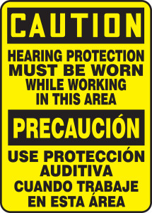 """Bilingual OSHA Safety Sign - CAUTION: Hearing Protection Must Be Worn While Working In This Area, 14"""" x 10"""", Pack/10"""