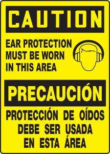 """Spanish (Mexican) Bilingual OSHA Safety Sign - CAUTION: Ear Protection Must Be Worn In This Area, 14"""" x 10"""", Pack/10"""