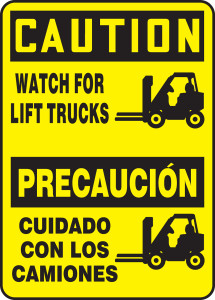 """Bilingual OSHA Safety Sign - CAUTION: Watch For Lift Trucks (Graphic), 14"""" x 10"""", Pack/10"""