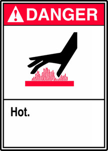 "ANSI Safety Sign - DANGER: Hot, 14"" x 10"", Pack/10"