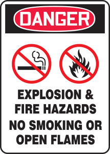 "OSHA Safety Sign - DANGER: Explosion & Fire Hazards - No Smoking Or Open Flames, 14"" x 10"", Pack/10"