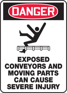 """OSHA Safety Sign - DANGER: Exposed Conveyors And Moving Parts Can Cause Severe Injury, 14"""" x 10"""", Pack/10"""