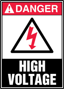 "ANSI Safety Sign - DANGER: High Voltage, 14"" x 10"", Pack/10"