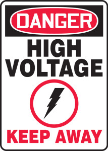 "OSHA Safety Sign - DANGER: High Voltage - Keep Away, 14"" x 10"", Pack/10"