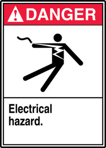 "ANSI Safety Sign - DANGER: Electrical Hazard., 14"" x 10"", Pack/10"
