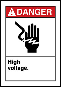 "ANSI Safety Sign - DANGER: High Voltage., 14"" x 10"", Pack/10"