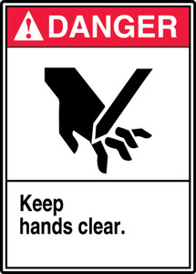 "ANSI Danger Safety Sign - Keep Hands Clear, 14"" x 10"", Pack/10"