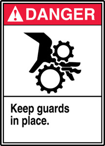 "ANSI Safety Sign - DANGER: Keep Guards In Place, 14"" x 10"", Pack/10"