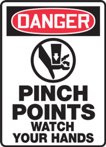"OSHA Safety Sign - DANGER: Pinch Points - Watch Your Hands, 14"" x 10"", Pack/10"
