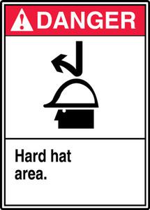 """ANSI Safety Sign - DANGER: Hard Hat Area, 14"""" x 10"""", Pack/10"""