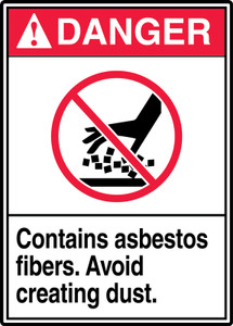 "ANSI Safety Sign - DANGER: Contains Asbestos Fibers - Avoid Creating Dust., 14"" x 10"", Pack/10"