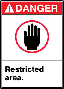 "ANSI Safety Sign - DANGER: Restricted Area., 14"" x 10"", Pack/10"