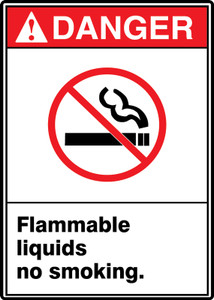 "ANSI Safety Sign - DANGER: Flammable Liquids - No Smoking., 14"" x 10"", Pack/10"