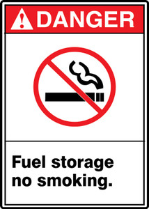 "ANSI Safety Sign - DANGER: Fuel Storage - No Smoking., 14"" x 10"", Pack/10"