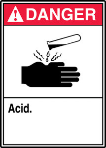 "ANSI Safety Sign - DANGER: Acid, 14"" x 10"", Pack/10"