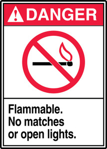 "ANSI Safety Sign - DANGER: Flammable - No Matches Or Open Lights., 14"" x 10"", Pack/10"