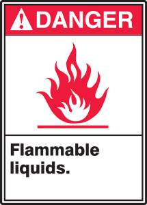 "ANSI Safety Sign - DANGER: Flammable Liquids., 14"" x 10"", Pack/10"