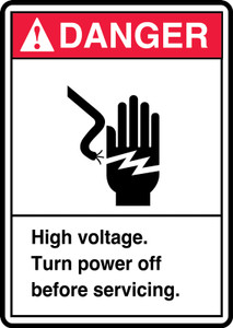 """ANSI Safety Sign - DANGER: High Voltage - Turn Power Off Before Servicing., 14"""" x 10"""", Pack/10"""