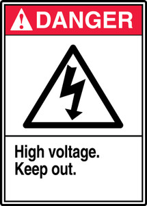 "ANSI Safety Sign - DANGER: High Voltage - Keep Out., 14"" x 10"", Pack/10"