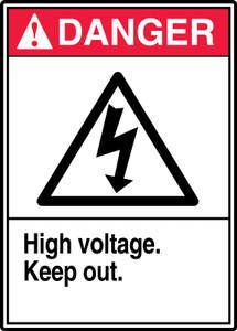 "ANSI Safety Sign - DANGER: High Voltage - Keep Out., 14"" x 10"", Pack/10"
