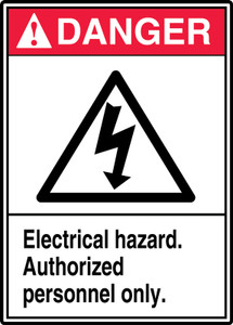 "ANSI Safety Sign - DANGER: Electrical Hazard - Authorized Personnel Only., 14"" x 10"", Pack/10"