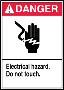 "ANSI Safety Sign - DANGER: Electrical Hazard - Do Not Touch., 14"" x 10"", Pack/10"