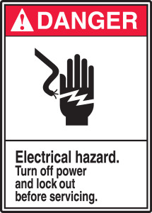 "ANSI Safety Sign - DANGER: Electrical Hazard - Turn Off Power And Lock Out Before Servicing., 14"" x 10"", Pack/10"