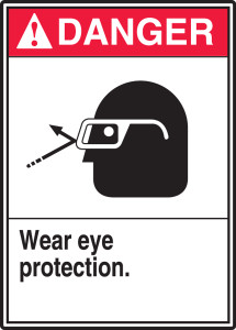 "ANSI Safety Sign - DANGER: Wear Eye Protection, 14"" x 10"", Pack/10"
