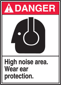 "ANSI Safety Sign - DANGER: High Noise Area - Wear Ear Protection., 14"" x 10"", Pack/10"